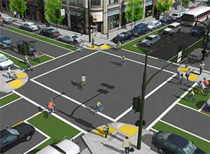 Intersections are likely vehicle and pedestrian accident scenes